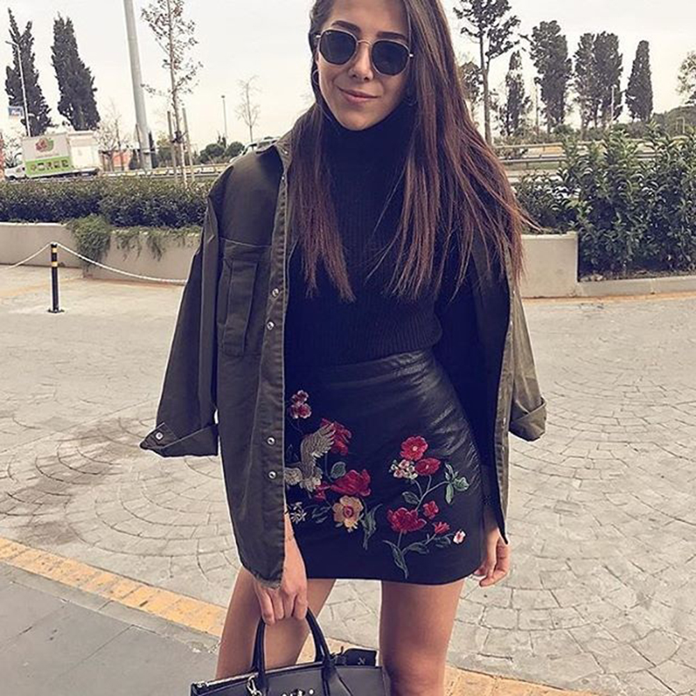 VESTLINDA Black Skirt Floral Embroidery Vintage PU Leather Pencil Skirt Women Slim High Waist Zipper Mini Ethic Plus Size Skirts 10