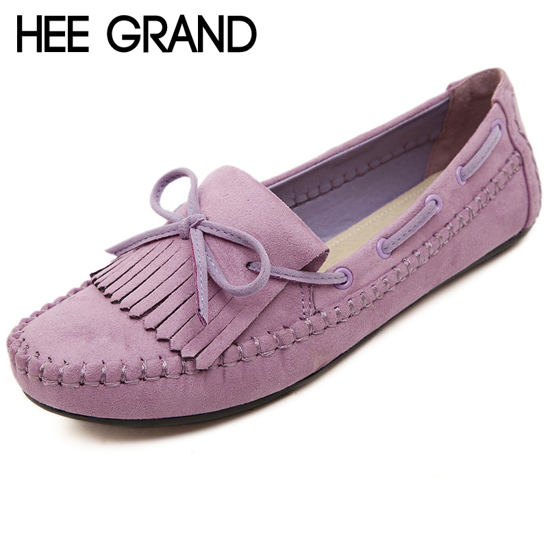 HEE GRAND Candy Color Women Loafers Tassel Fashion Round Toe Ladies Flat Shoes Woman Sweet Bowtie