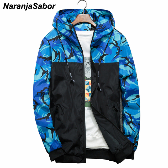 NaranjaSabor Spring Autumn Men's Jackets Camouflage Military Hooded Coats Casual Zipper Male Windbreaker Men Brand Clothing N434 4