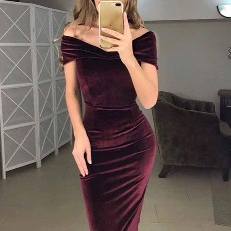 4c7df01d7f Imixlot Sexy Off The Shoulder Velvet Wrap Elegant Bodycon Dress 2019 Female  Slash Neck Party Dress Midi Women Dresses