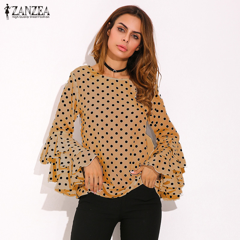 HTB1pWHOSpXXXXaiXFXXq6xXFXXXN - Womens Spring Flounce Long Sleeves Blouse Office