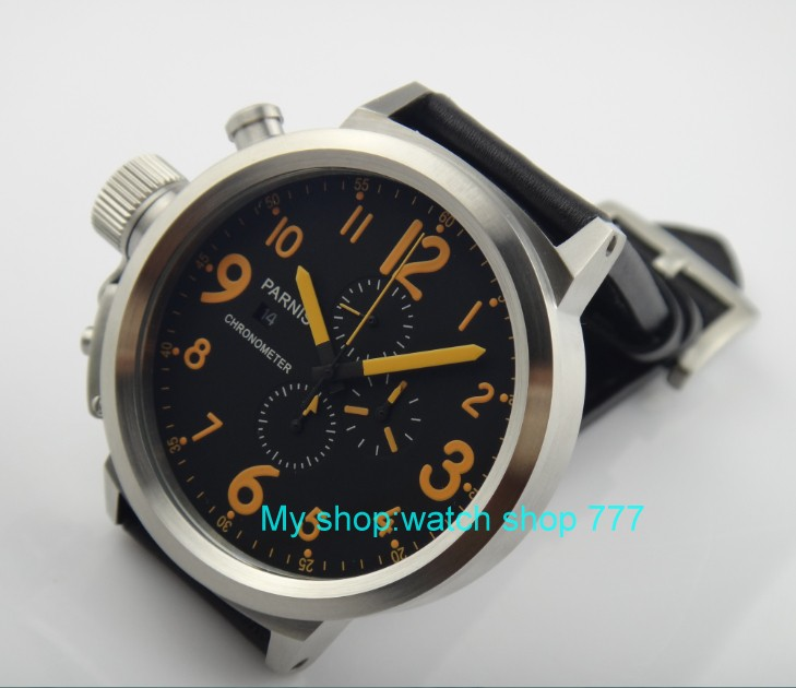 50mm PARNIS black dial Japanese quartz movement Chronograph multifunction men's watch Auto Date Quartz watches SY9 50mm parnis black dial japanese quartz movement chronograph multifunction men s watch auto date quartz watches pvd case sy14