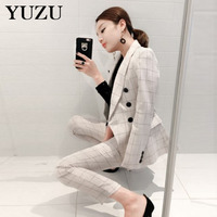 Women Blazer Suit Winter Autumn Vintage White Plaid Business Formal Suits For Women Work Office Pants