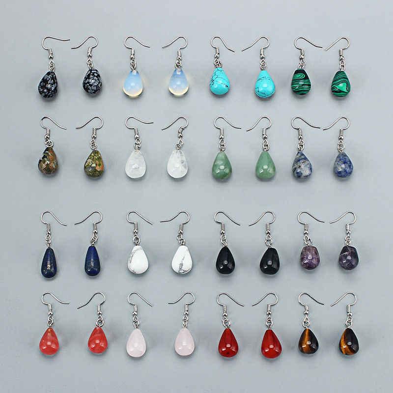 Su Damlası Doğal Taş Dangle Küpe Kadınlar için Kaplan Gözü Temizle Kuvars Lapis Opal Obsidyen Damla Koni Boncuk Kanca Küpe