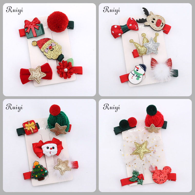 2017 New Fashion Christmas Hair Clips for Girls Santa Claus Xmas Hairpins Barrettes Gifts for Kids Children  Hair Accessories minnie mouse ears baby girl hair clip children clips accessories kids cute hairclip for girls hairpins hair clips pins menina