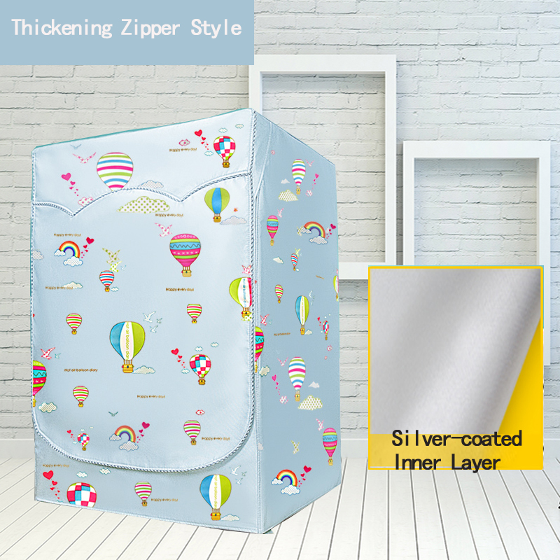 Waterproof Sunscreen Washing Machine Cover Hot Air Balloon Thicker Fabric Waterproof Case Washing Machine Protective Dust Jacket