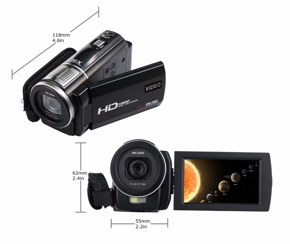 """Marvie 1080p 30fps filmadora Video Recorder 24MP 16X Anti-shake Macro Portable Camcorder 3"""" Touch Screen HDMI out Video Camera 5"""