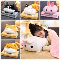 Cartoon Dog Cat Rabbit Husky Shiba Inu Corgi Plush Toy Portable Office Nap Car Sofa Blanket Carpet Baby Kids Girl Birthday Gift