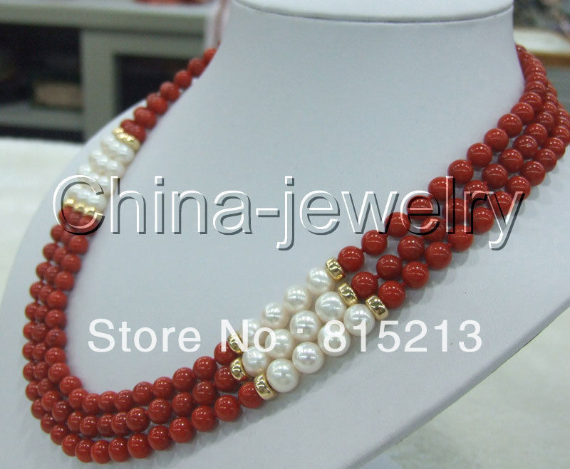 "ddh0017 AAA+ 3row 18-20"" 8mm natural red coral & white round FW pearl necklace-14k/20"