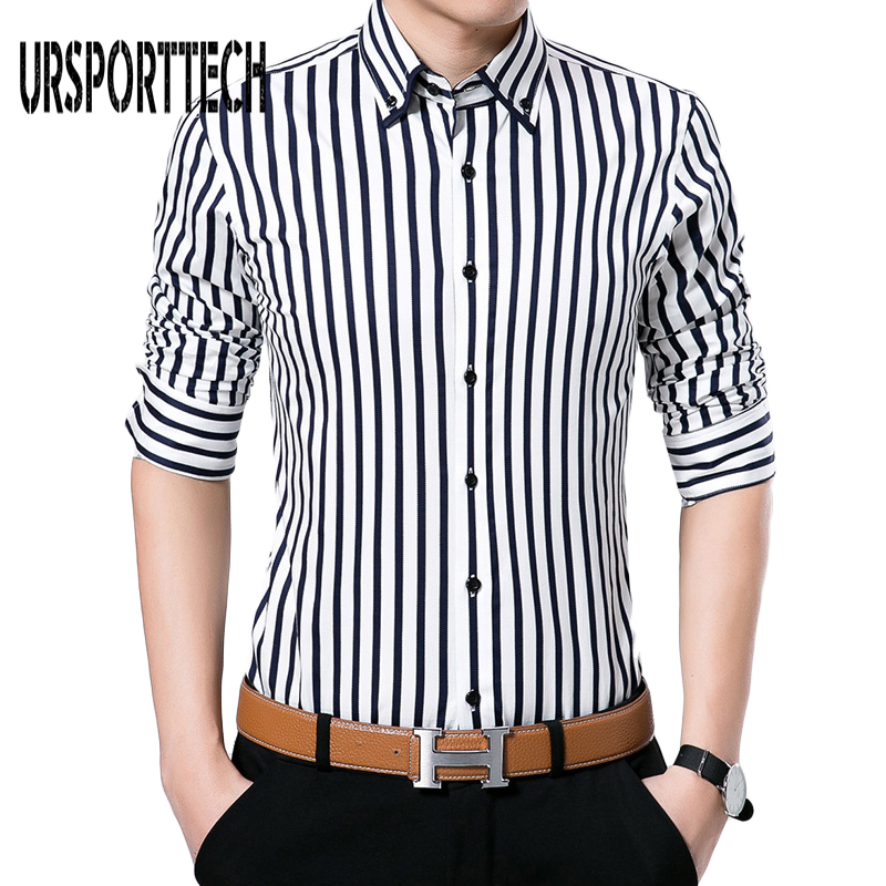 2018 New Arrival Mens Striped Shirt Casual Long Sleeve Shirt Mens Dress Shirts Brand Fashion Business Style Shirts