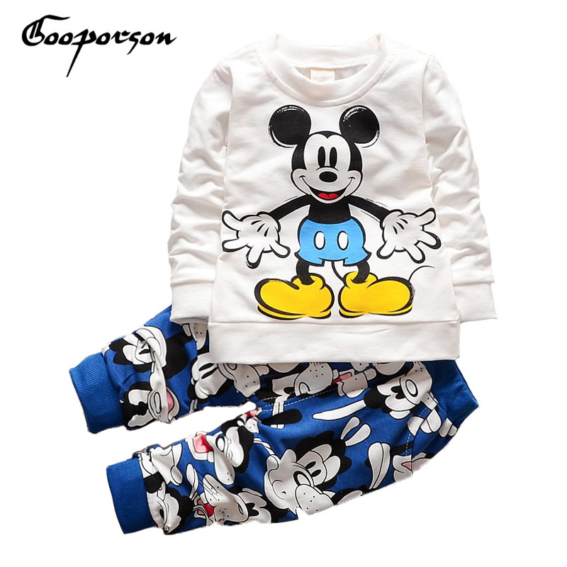 Boys Clothes Set Summer Cotton Girls Cartoon Mickey Tracksuit Toddler Tops Pants Clothing Suit Baby Kids Sets Girls Clothes Set spring children girls clothing set brand cartoon boys sports suit 1 5 years kids tracksuit sweatshirts pants baby boys clothes