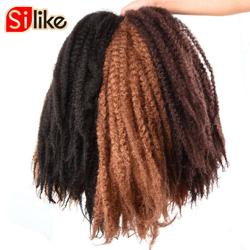 Silike 100g/pack Marley Braid Hair 18 inch Afro Kinky Crochet Hair For Black Woman 10 Colors Synthetic Hair Extension 1 pack