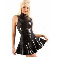 Женское платье без рукавов из латекса и ПВХ кожи с молнией, Клубная одежда, костюм для танцев на шесте