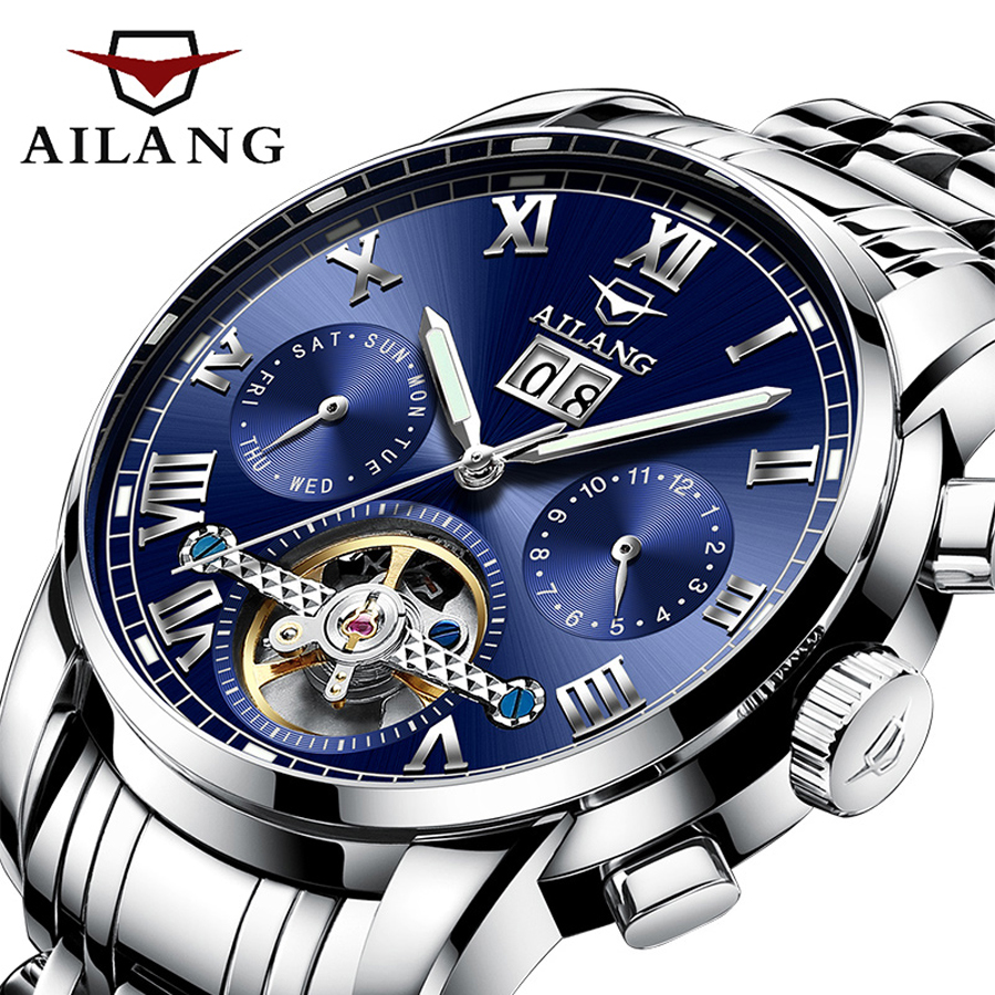 Genuine AILANG Brand Men Self-wind Waterproof Stainless Steel Strap Automatic Mechanical Male Fashion Tourbillon Watch mce brand men self wind waterproof leather strap automatic mechanical male black white dial fashion tourbillon watch men clock