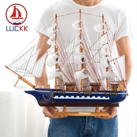 LUCKK 60CM Nordic Wooden Model Ships Home Interior Decoration Wood Craft Nautical Accessories Miniatures Room Christmas Gifts