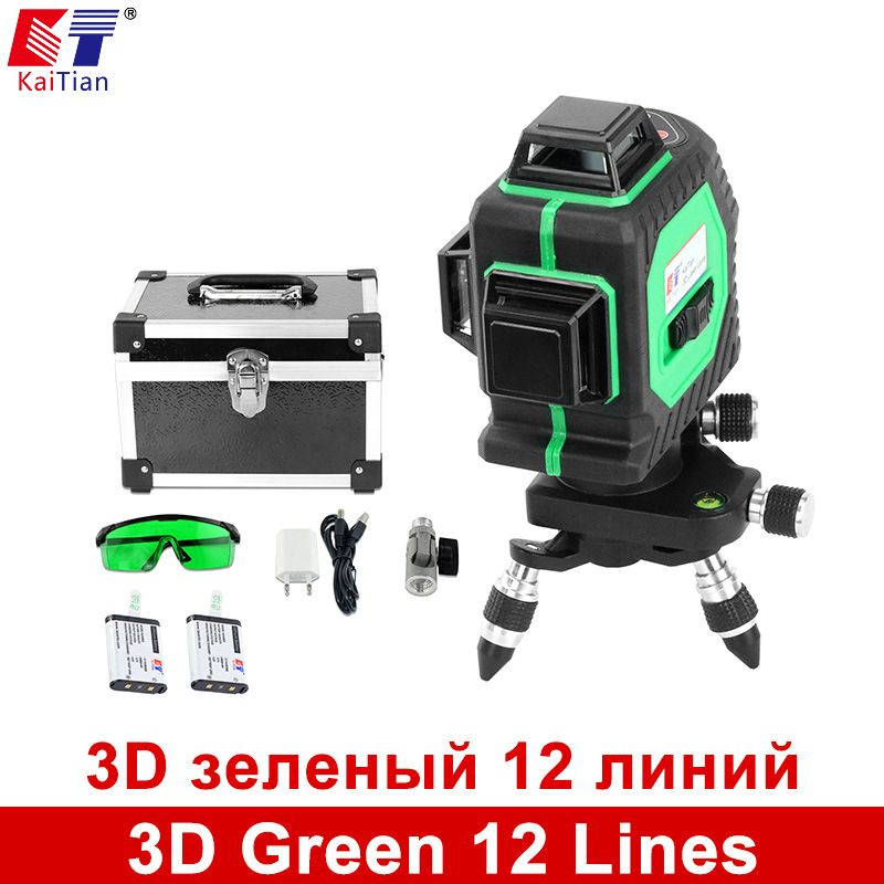 KaiTian 3D Green 12 Lines Laser Level 360 Rotary Self Leveling with Battery and Tilt Slash Function Outdoor EU 532nm Laser Beam xgear 360 rotary desktop flexible neck clip holder for 3 5 6 3 cell phones white green 85cm