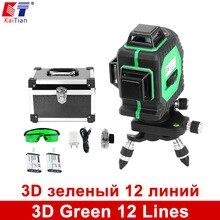 3D Verde 12 Líneas de Nivel Láser KaiTian 360 Rotativo Autonivelante con La Batería y Función de Inclinación Barra Al Aire Libre de LA UE 532nm de Rayo Láser