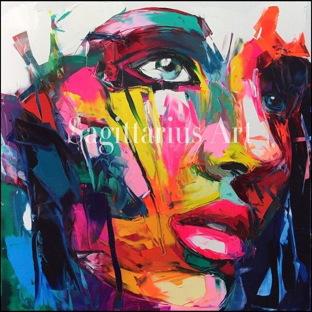 Favori Peint à La main Palette couteau peinture Abstraite Portrait Visage  SW31