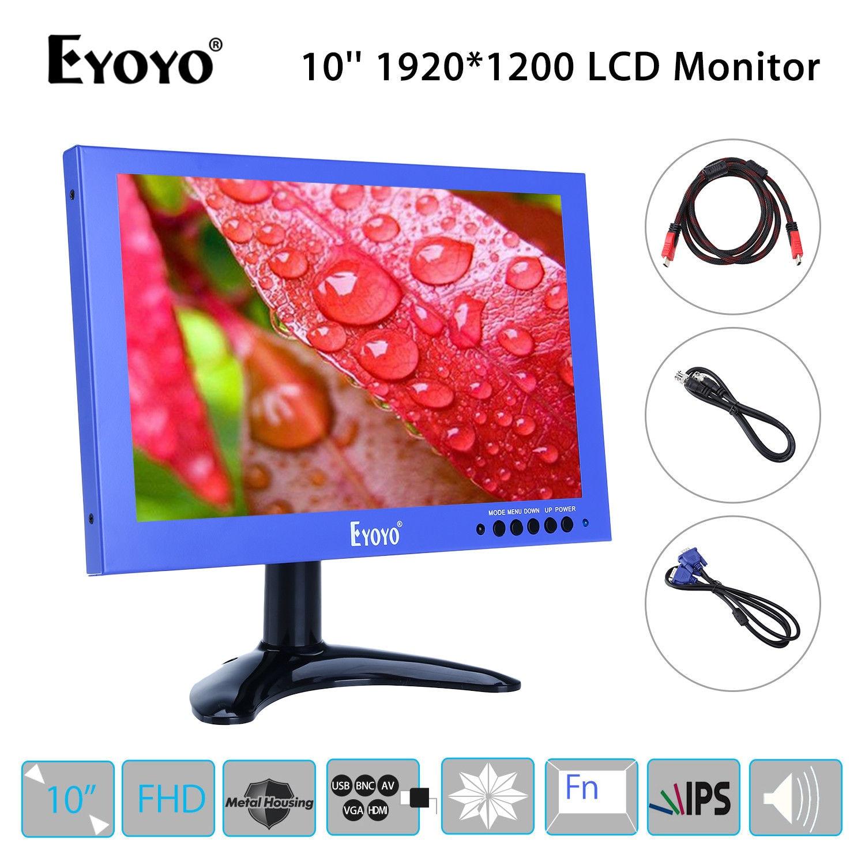 EYOYO 1920*1200 10 inch LCD IPS Display VGA BNC USB Video Audio HDMl FHD Monitor Speaker Blue Mini for CCTV DVD PC Laptop eyoyo 8 inch home cctv ips lcd hd 1024 768 video monitor hdml vga bnc for pc lab