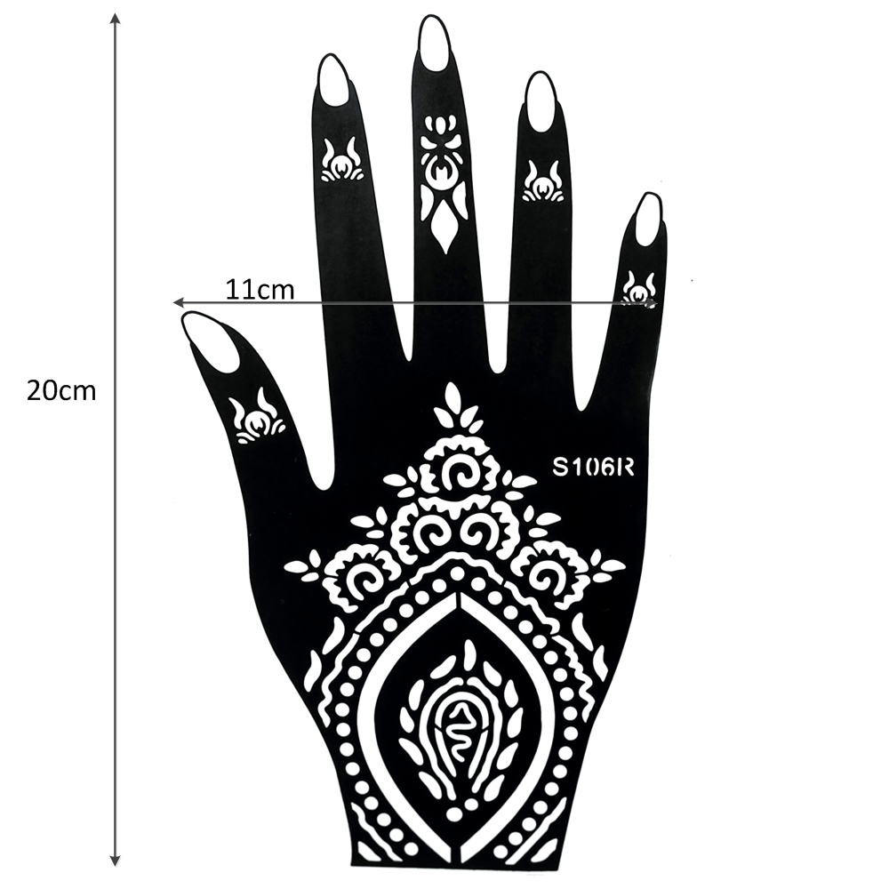 Glaryyears 196 Designs 1 Pair Indian Mehndi Left Right Hands Henna