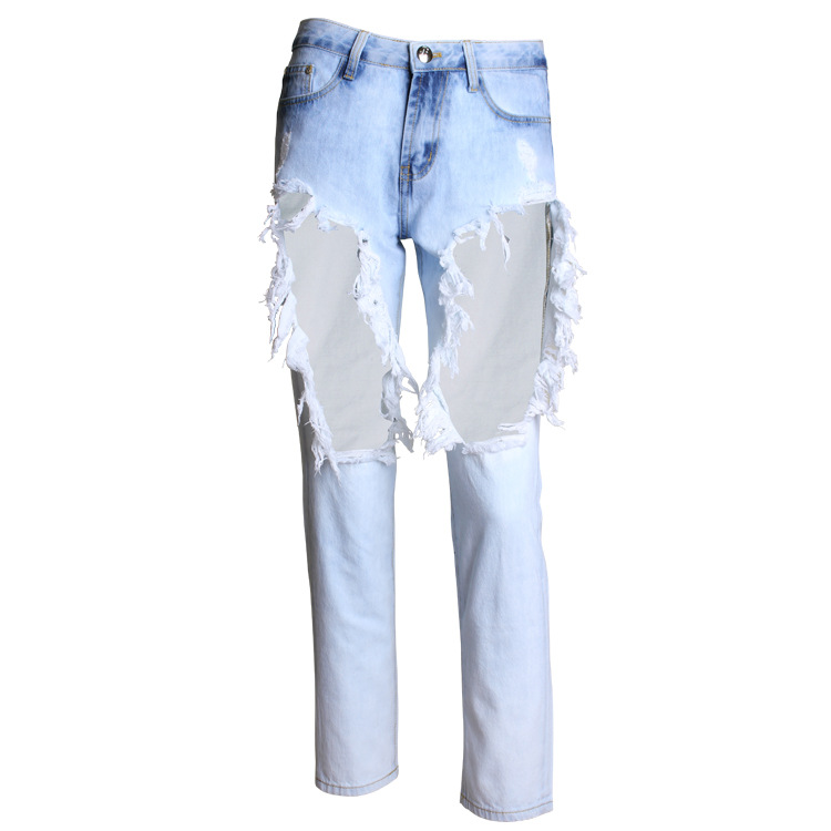 Jeans Woman High Waist Jean Pants Woman Sexy Ripped Jeans for Women American Apparel Jeans Femme Beading and Holes Casual Pant flower print jeans woman high waist jean