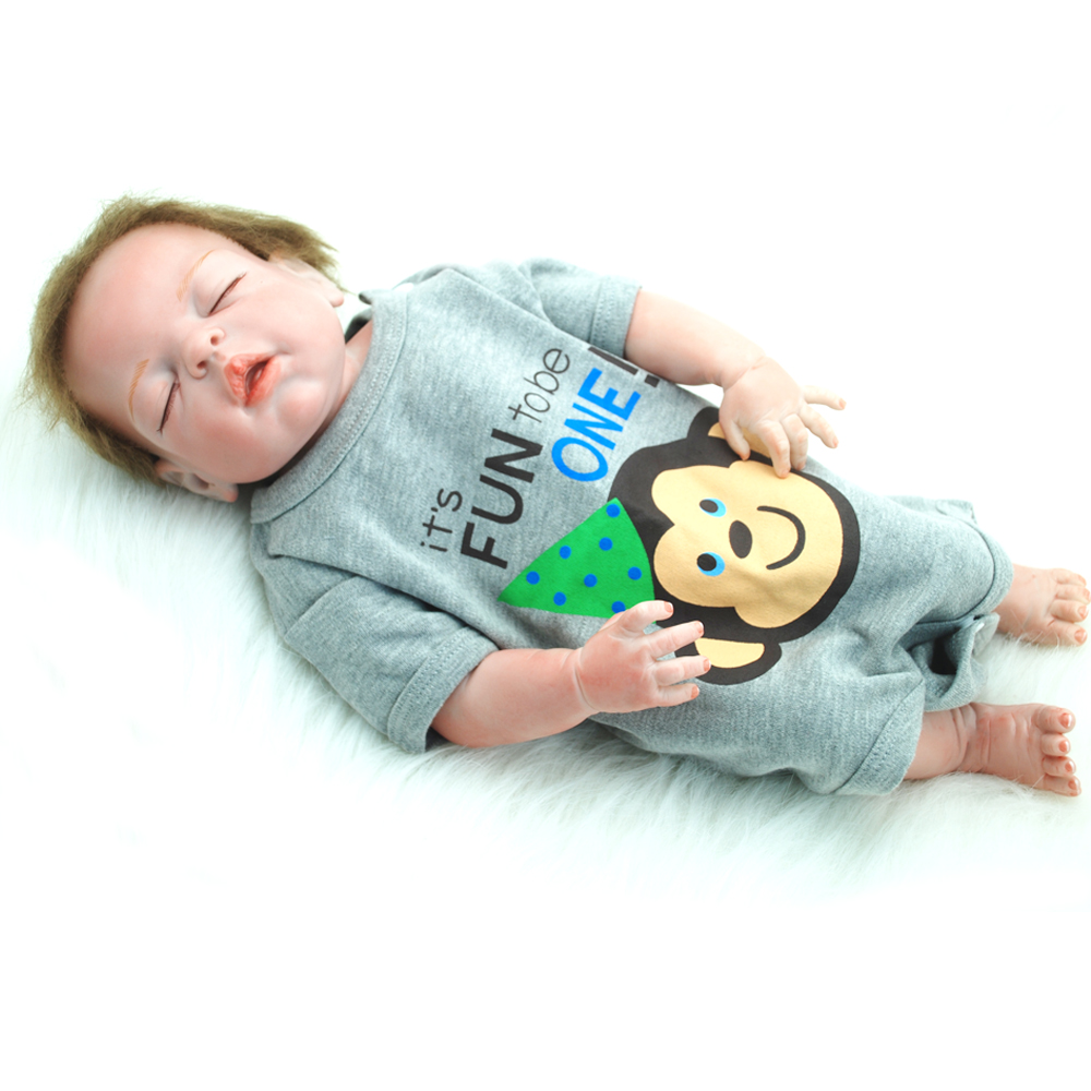 NicoSeeWonder Boy Boneacs 19 Inch Bebe Reborn Baby Dolls Full Silicone Lifelike Reborn Toddler Toys With Different Cloth Kit
