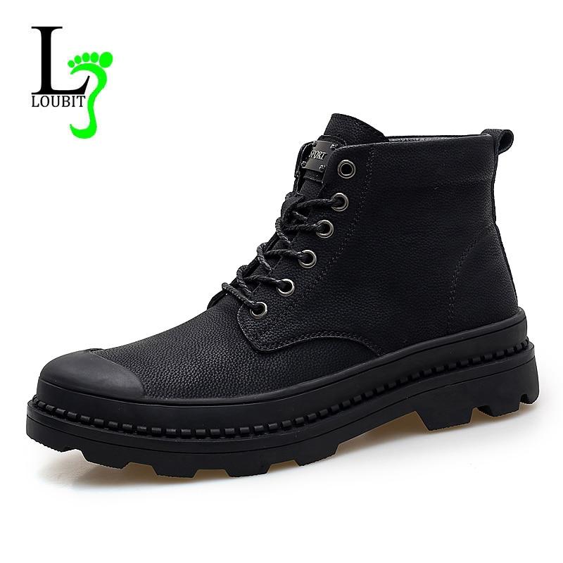 Fashion Men Boots Genuine Leather Winter Fur Waterproof Botas Hombre Casual Shoes Men 2018 Ankle Boots Short Plush Warm Shoes