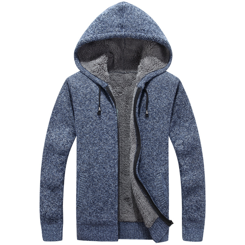 New Arrival Thick Mens Sweaters Casual Knitwear Autumn Winter Warm Fleece Cardigan Sweaters Hooded Men Coat M to XXXL
