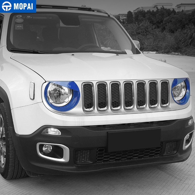 Image 4 - MOPAI Car Front Head Light lamp Decoration Cover Stickers for Jeep Renegade 2015 Up ABS Exterior Car Accessories Styling-in Lamp Hoods from Automobiles & Motorcycles