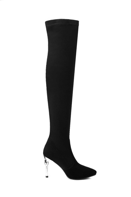 Cuisse Arrivée Pointu Talons Slip Sexy Charme Haute Kid Grande 2018 L09 Filles Suede Stretch Bottes Nouvelle Bout Sur Super Piste Taille Noir UxC5wqgnzw
