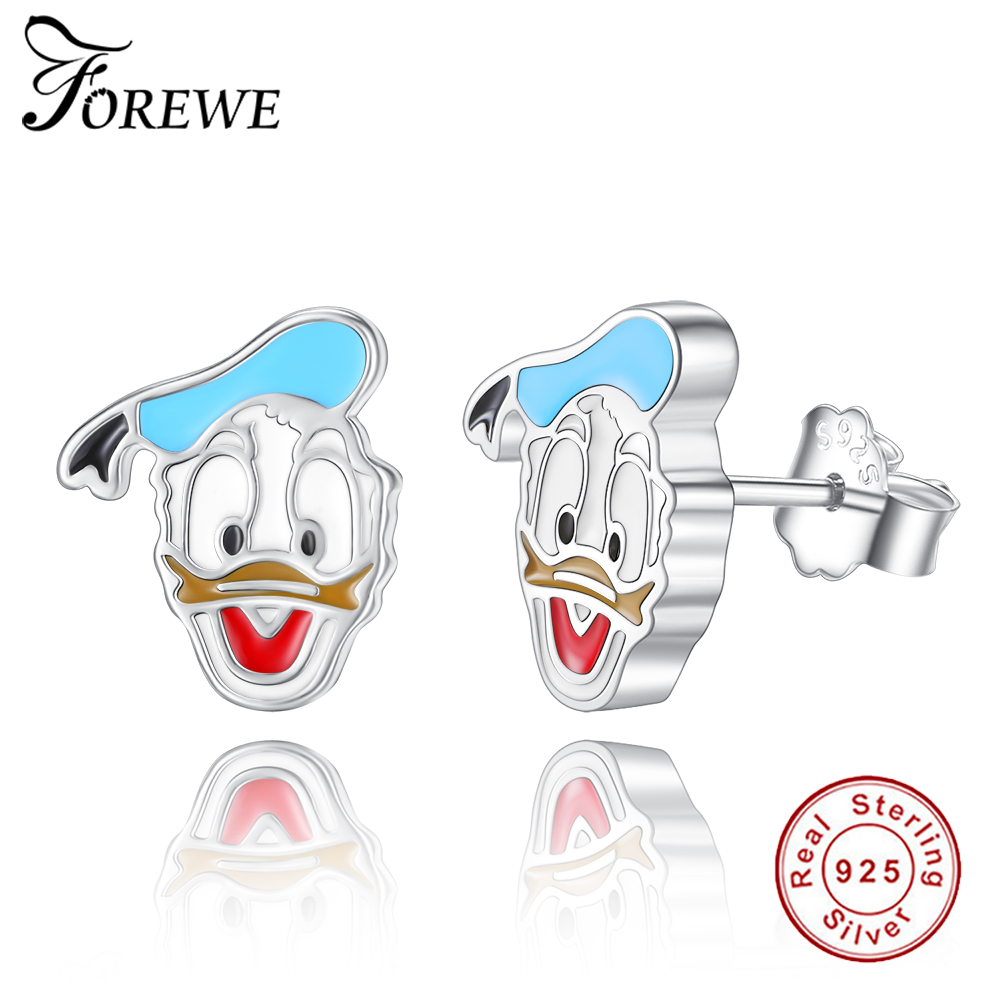 Forewe Popular 925 Sterling Silver Cute Cartoon Donald Duck Pushback Stud  Earrings For Women