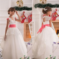 2019 Christma NEW Pageant Dress Party Formal Flower Girls Dress Birthday Communion Toddler Kids TuTu Dress Wedding Gown bowknot
