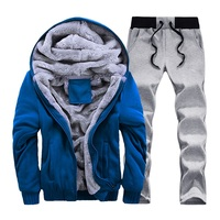 Men's Set Winter Man Casual Tracksuit Men Warm Sportwear Full Sleeve Suit Mens Cotton Thick Fleece Patchwork Sets Large size