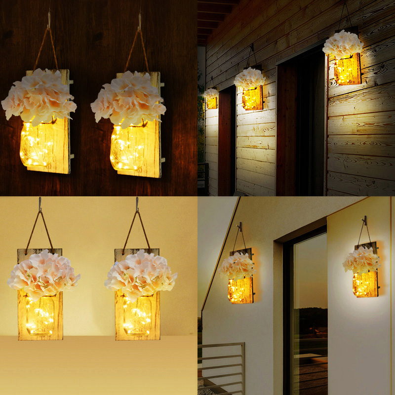 Us 18 9 30 Off Mason Jar Sconce Led Fairy String Lights Handcrafted Hanging Wall Lamp Decor 2 Pack Light For Living Room Restaurant In