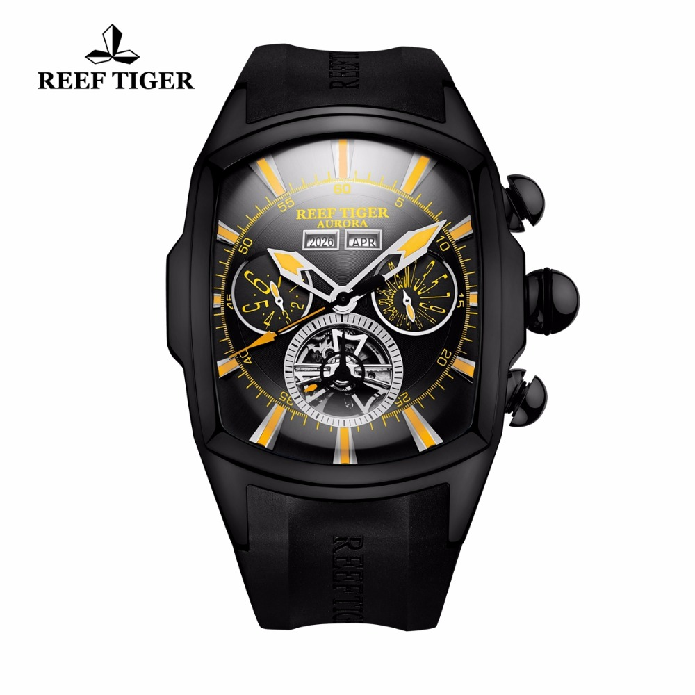Reef Tiger/RT Casual Sport Watches for Men Black Steel Rubber Strap Luminous Tourbillon Watch Analog Quartz Watches RGA3069