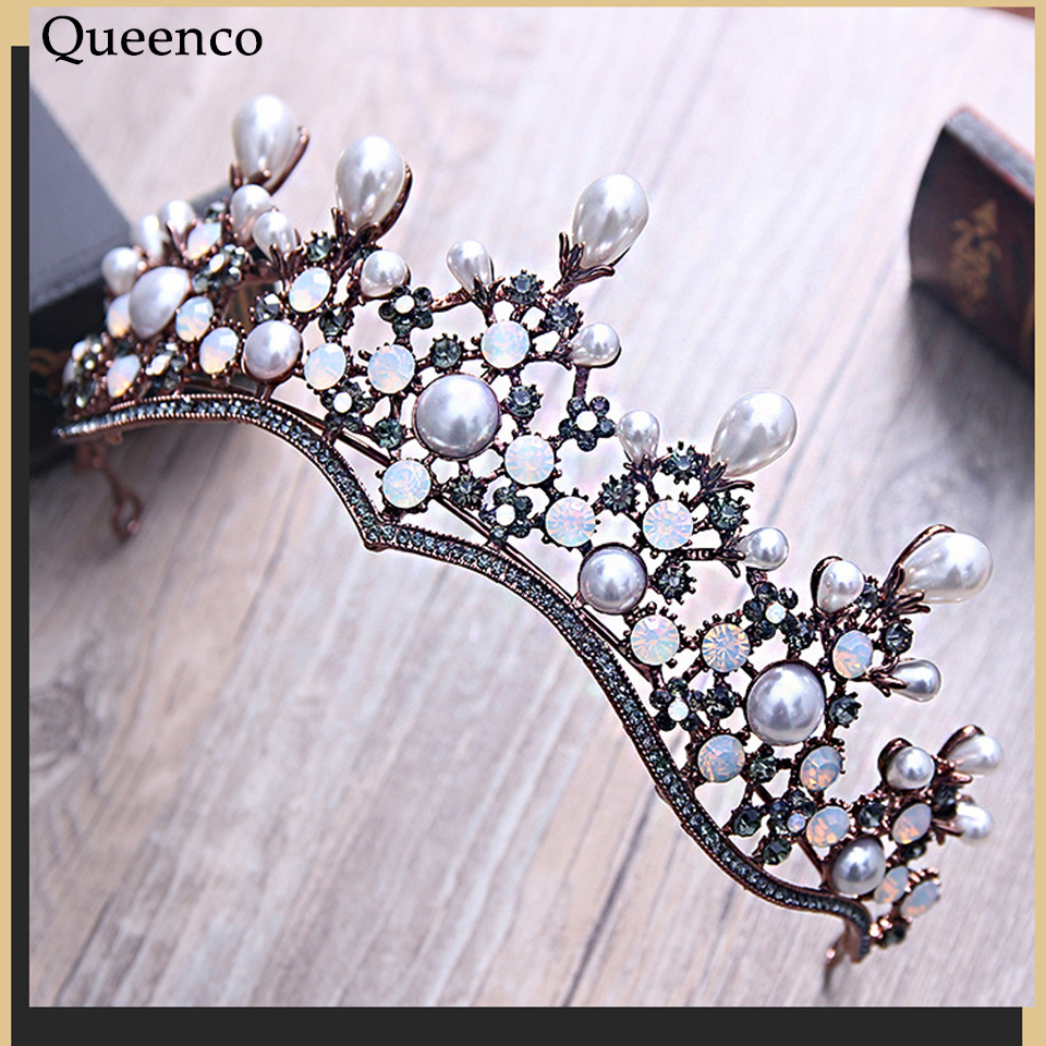 Queenco Vintage Baroque Crown with Pearl Rhinestone Wedding Headdress Pageant Hair Accessories Jewelry Princess Bridal Diadem