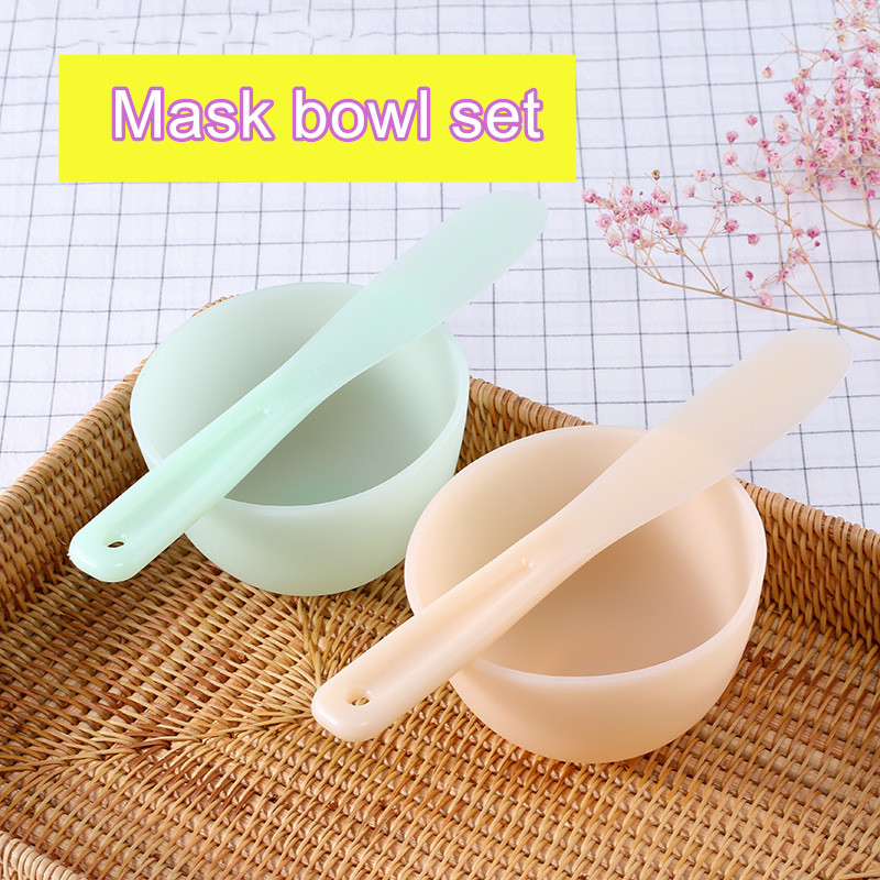 2 Colour DIY Face Mask Makeup Tools Homemade Silicone Mask Bowl Facial Mask Stick Measuring Spoon Mask Brush Cosmetics Tool Kits