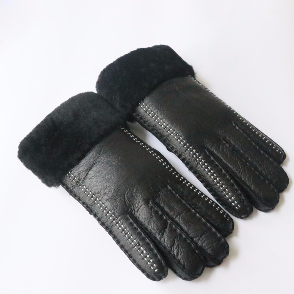 2019 Winter Super Warm Sheep Fur Women's Wool Gloves Winter Warm Fashion Sheepskin Thickening Hand-sewn Gloves & Mitten