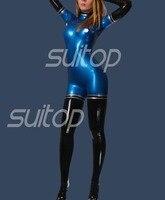 Новый Латекс комбинезон резиновая zentai высокого качества уровень металлик синий и черный с перчатки носки