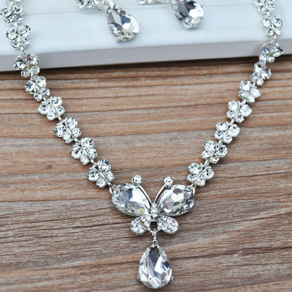 Rhinestone Crystal Necklaces+Earring Stick Bride Jewelry Sets for Bridal Wedding (2)