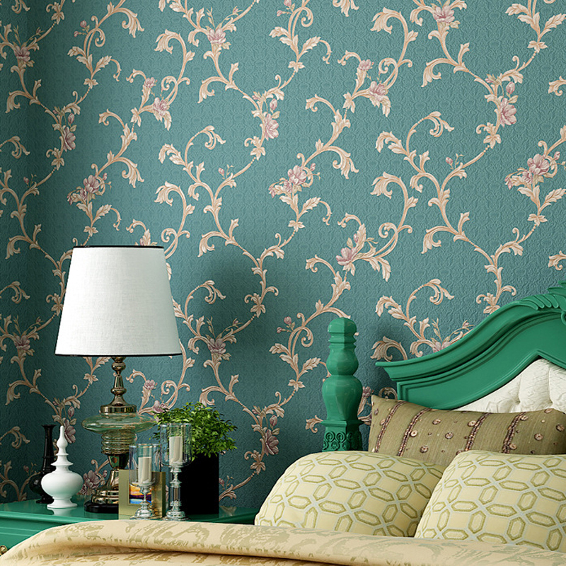 American Pastoral Floral Wallpaper for walls waterproof PVC wall paper papel de parede 3d para sala atacado papel pintado JS029 015 top fashion papel de parede para sala wall style elephant with collapsing design 3d wallpaper mural can be customized paper