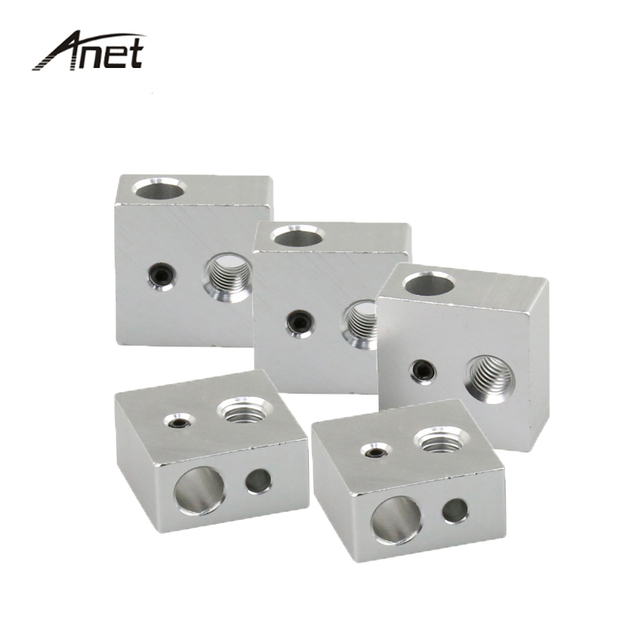 5PCS/Lot Extruder Heating Block 20*20*10mm Heating Head Makerbot Specialized for MK7 MK8 Heater Block For Anet A2 A8 3D Printer