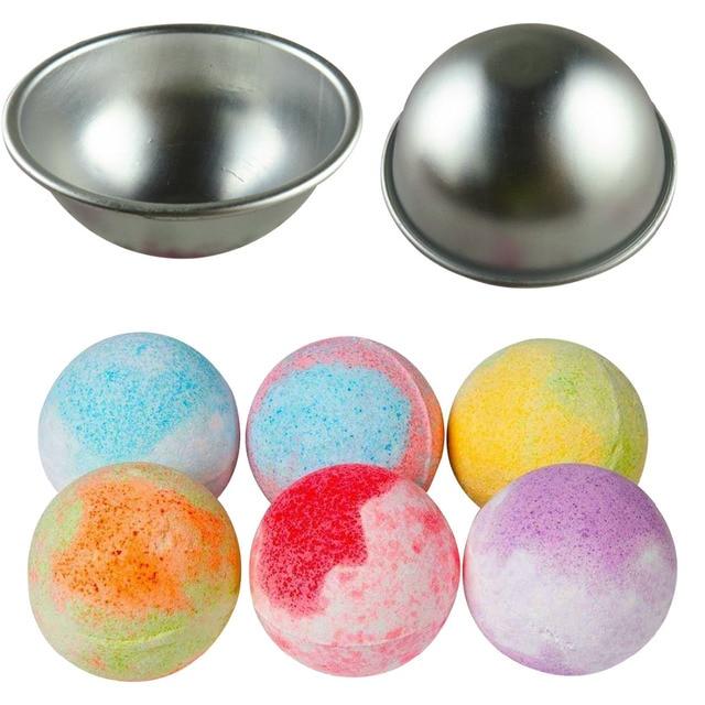 3D Sphere Shape DIY Spa Tool Accessories 1PC 5.5*2.5cm Mini Aluminum Alloy Shallow Semicircle Bath Bomb Salt Ball Metal Mold 3