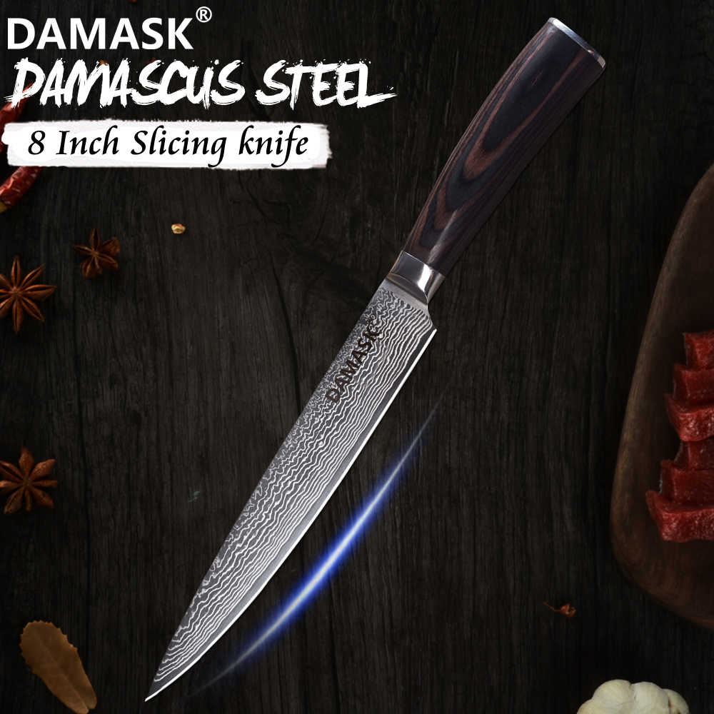 Damask 8 inch Damascus Blade Slicing Knife Top Grade Damascus Kitchen Knife Suhshi Sashimi Meat Fish Vegetable Knives Cutlery
