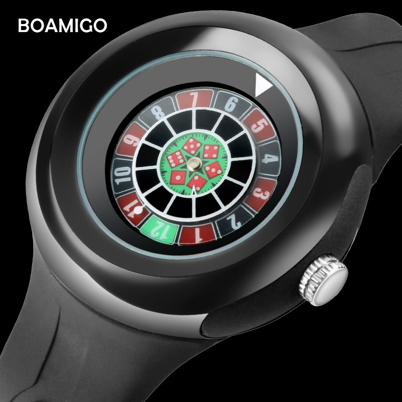 BOAMIGO brand fashion men watches creative dice quartz watches male man casual rubber wristwatches 2018 gift relogio masculino