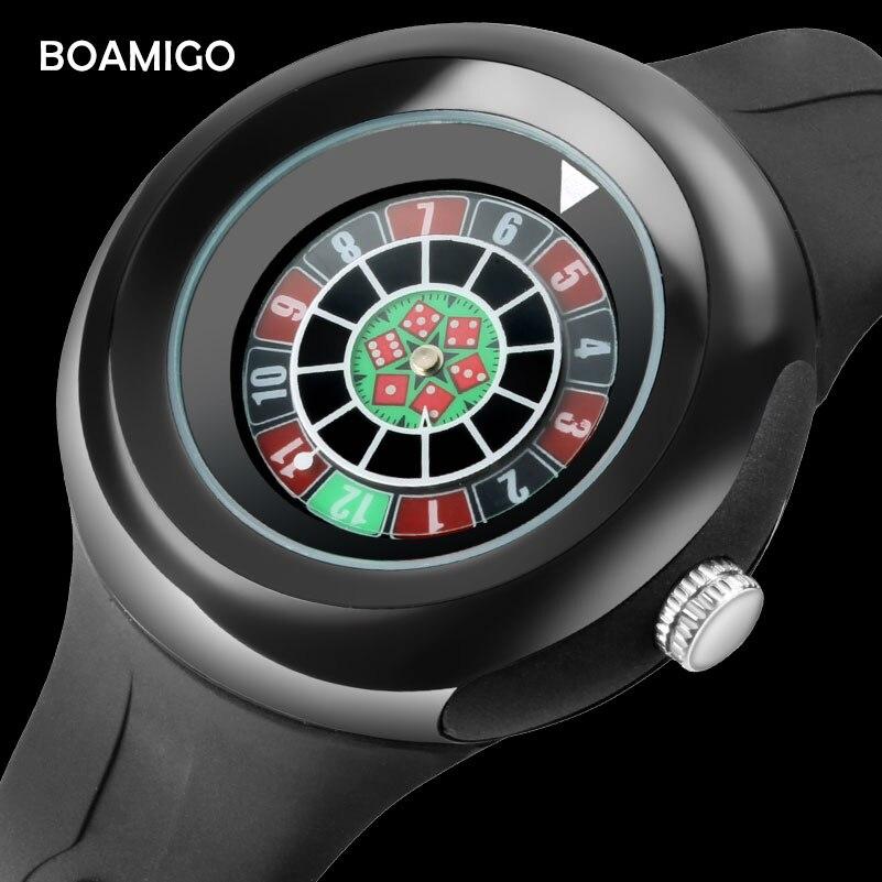 BOAMIGO modo di marca degli uomini orologi dadi creativi orologi al quarzo maschio uomo casual orologi da polso in gomma 2018 regalo relogio masculino