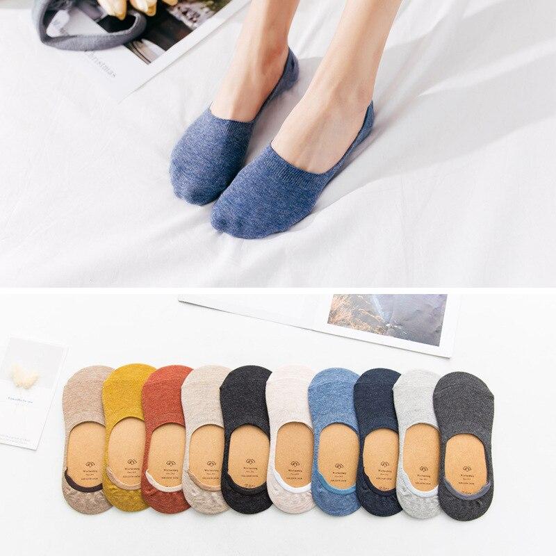10 шт. = 5 пар весенне-летних женских носков однотонные модные неглубокие невидимые носки с закрытым носком носки-Тапочки