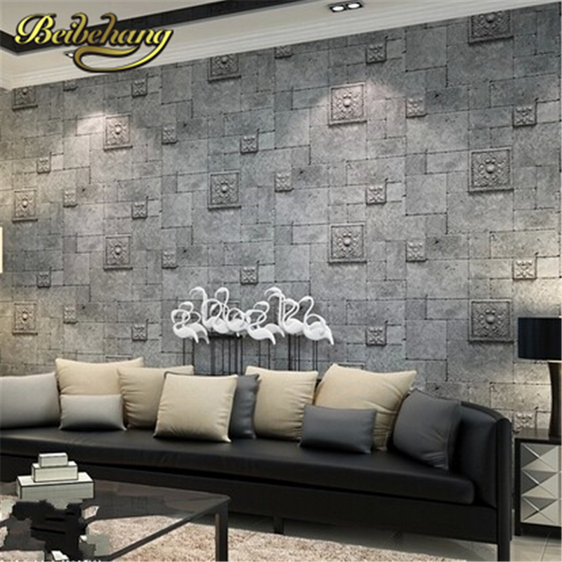 beibehang wallpaper 3D wallpaper Deep Embossed Brick Wall paper roll for home decoration wallcovering papel de parede listrado wholesale vintage mural 3d brick stone room wallpaper vinyl waterproof embossed wall paper roll papel de parede home decor 10m