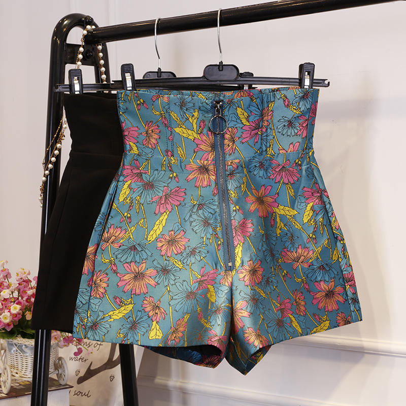 Zipper High Waist Wide Legs Shorts Women Vintage Flower Printing Women Shorts Fashion Short Femme Black Sexy Summer Shorts C5600