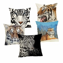 Tiger Cushion Case Decorative Cover 45x45CM Cotton Linen Square Throw Pillow